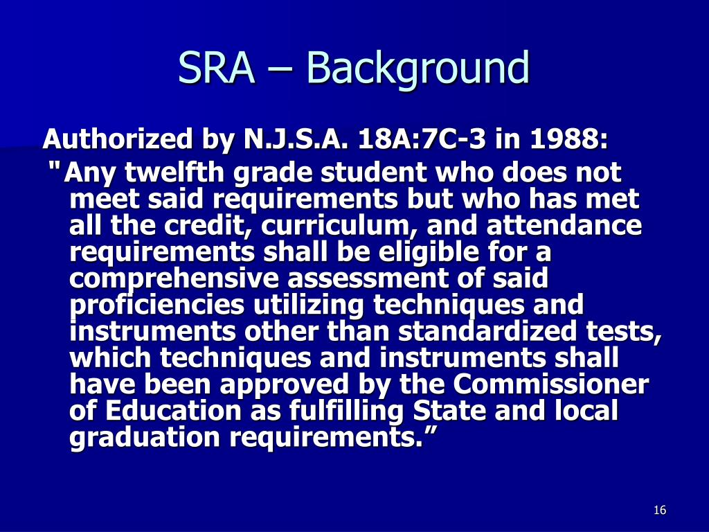 SRA – Background