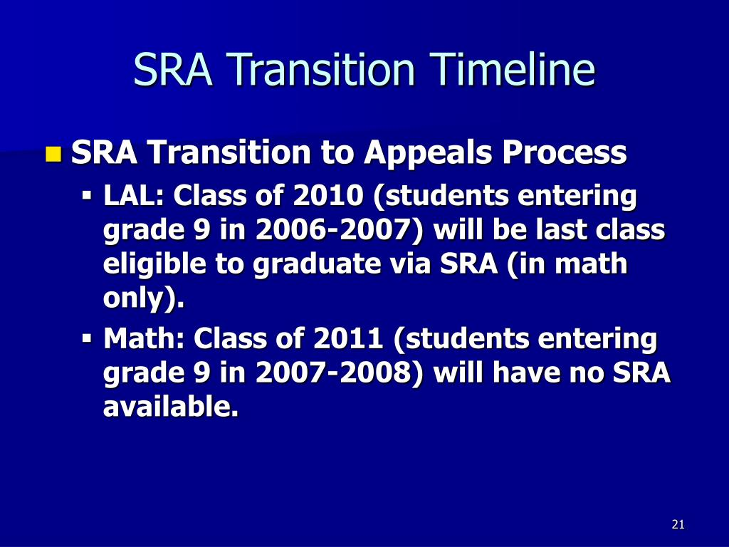 SRA Transition Timeline