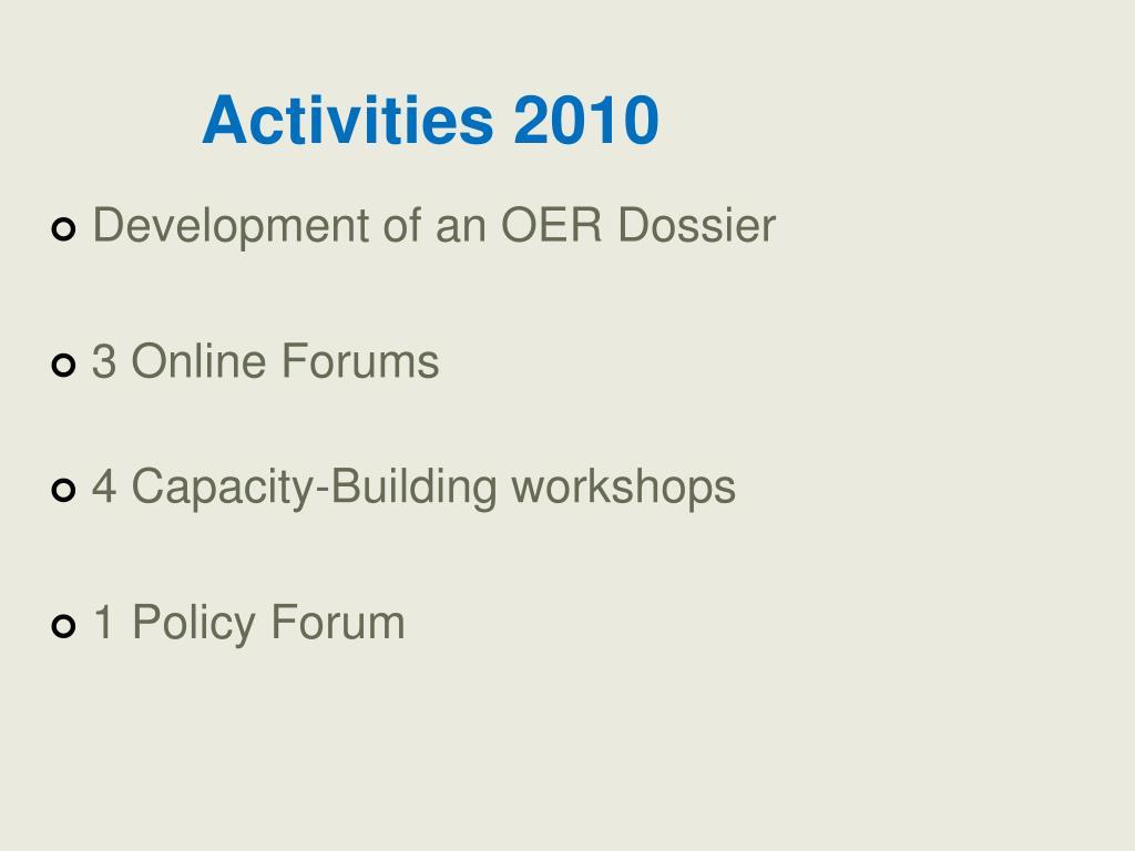 Activities 2010