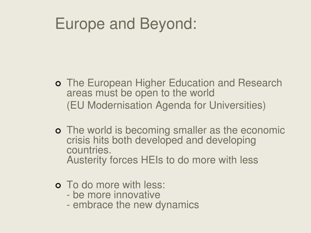 Europe and Beyond: