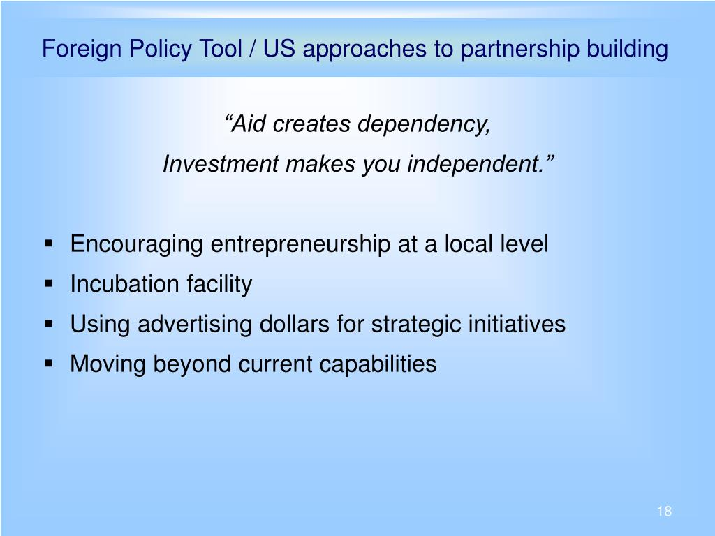 Foreign Policy Tool / US approaches to partnership building