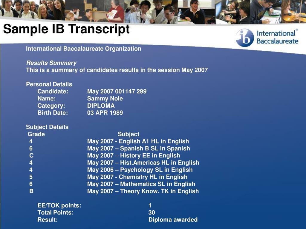 Sample IB Transcript