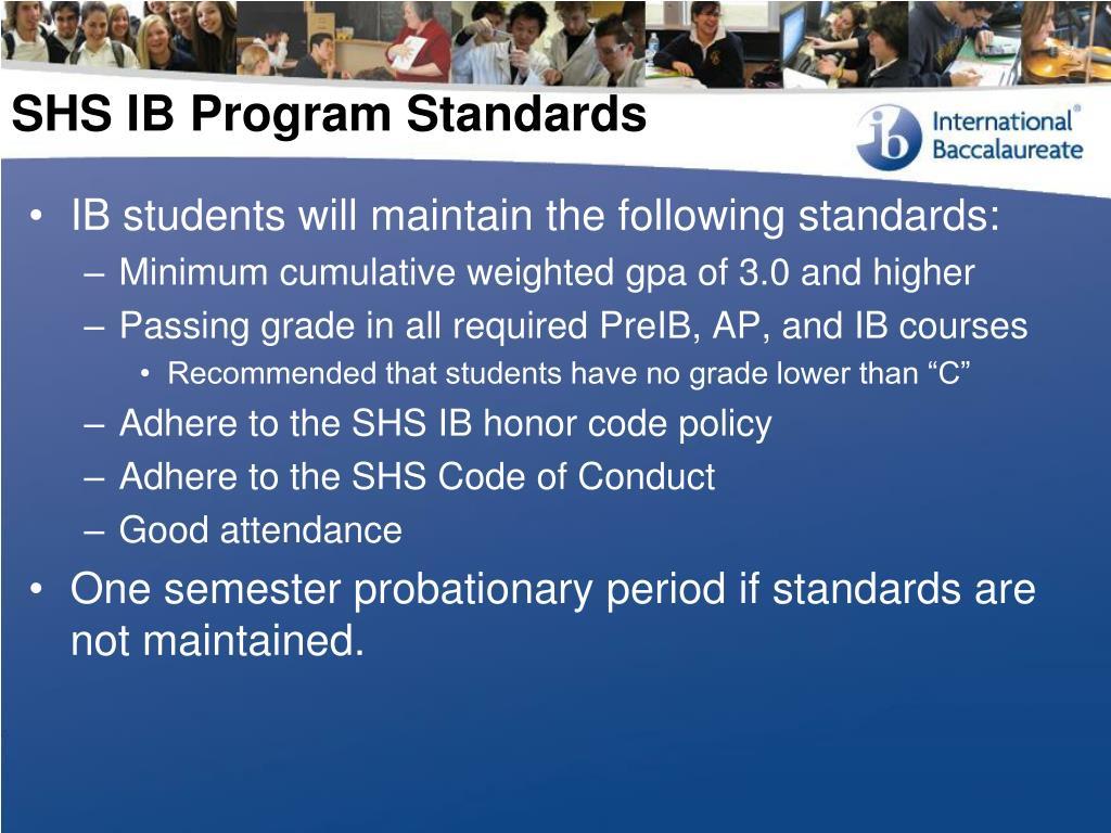 SHS IB Program Standards
