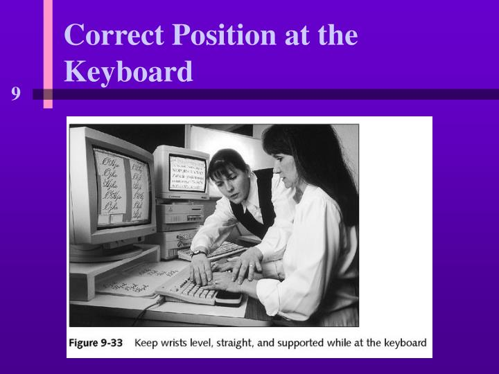 Correct position at the keyboard