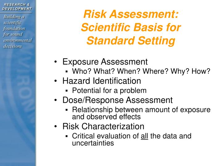 Risk assessment scientific basis for standard setting