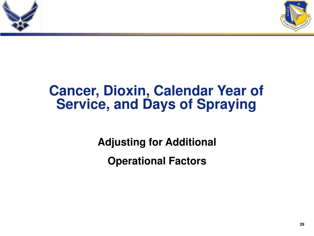 Cancer, Dioxin, Calendar Year of Service, and Days of Spraying