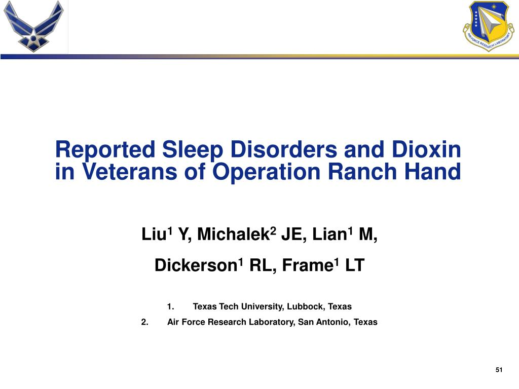 Reported Sleep Disorders and Dioxin in Veterans of Operation Ranch Hand