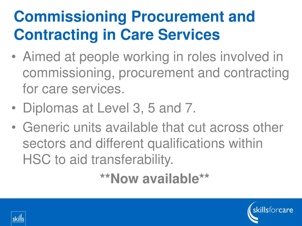 Commissioning Procurement and Contracting in Care Services