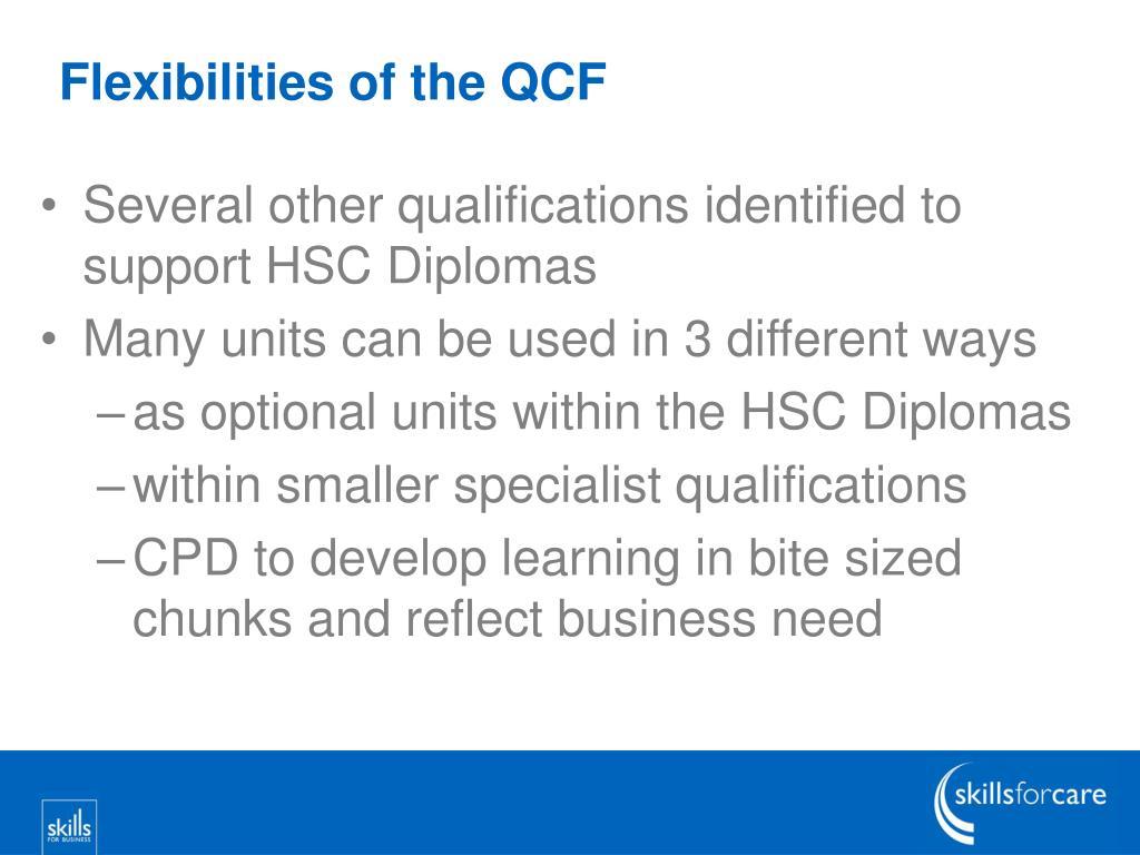 Flexibilities of the QCF