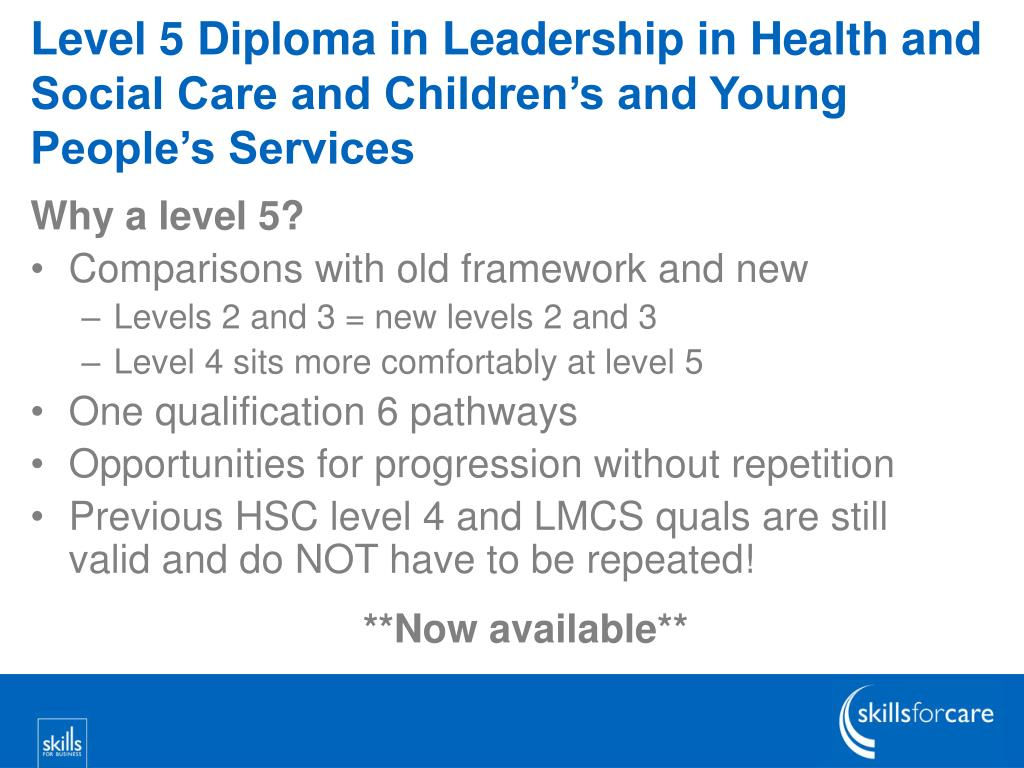 Level 5 Diploma in Leadership in Health and Social Care and Children's and Young People's Services