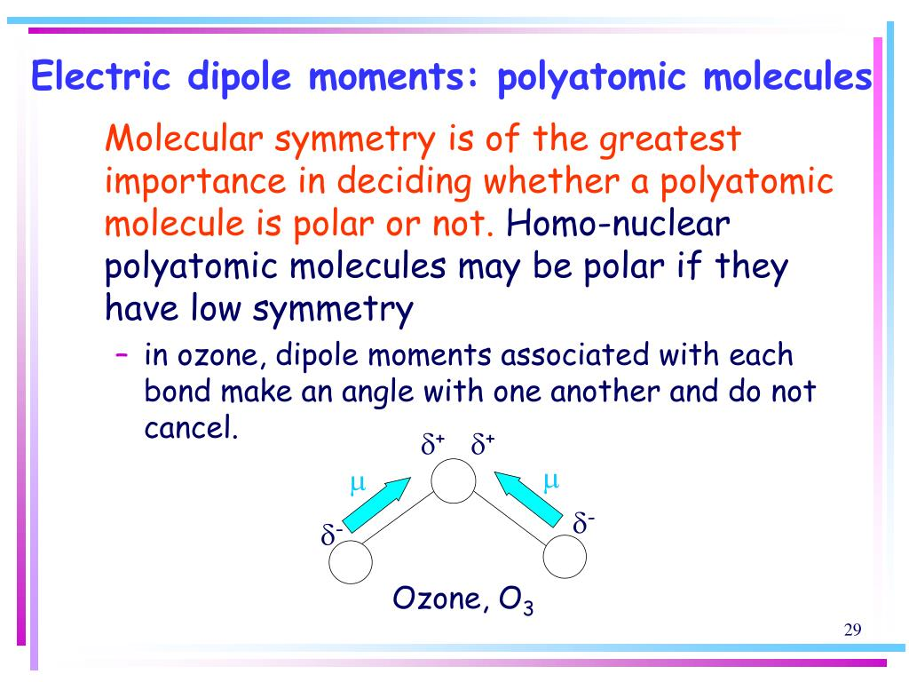 Electric dipole moments: polyatomic molecules