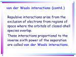 van der waals interactions contd