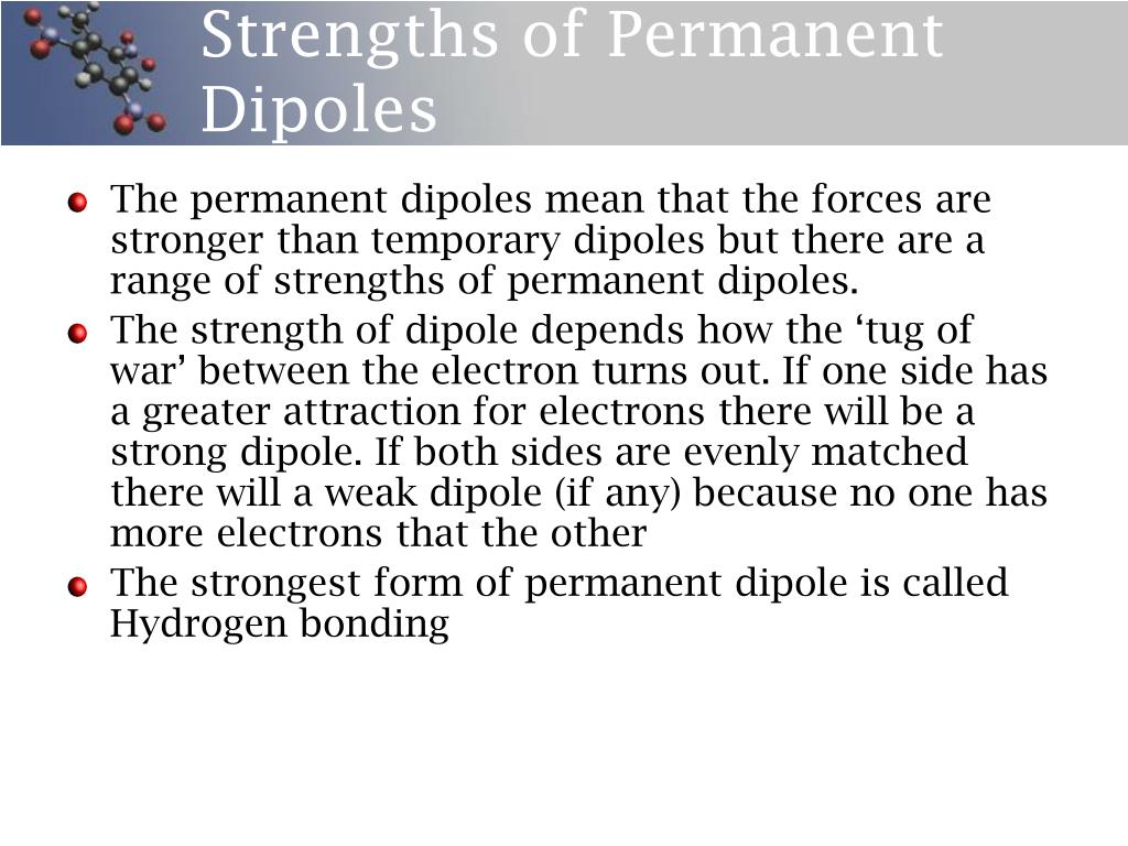 Strengths of Permanent Dipoles