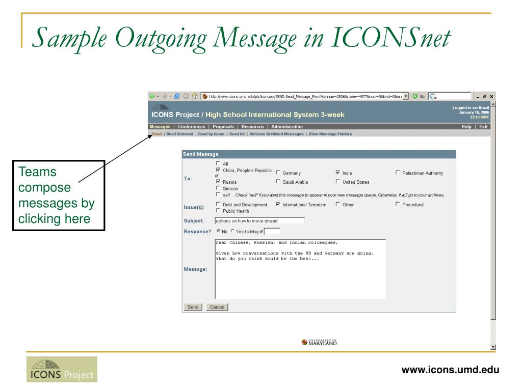 Sample Outgoing Message in ICONSnet