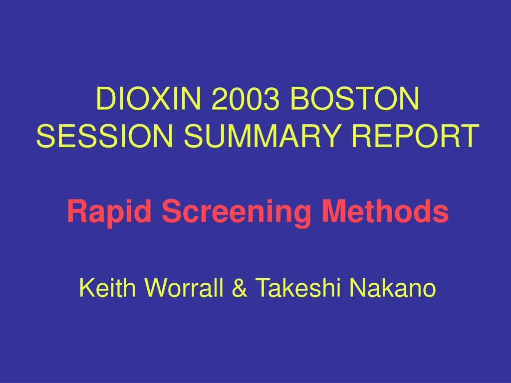 DIOXIN 2003 BOSTON