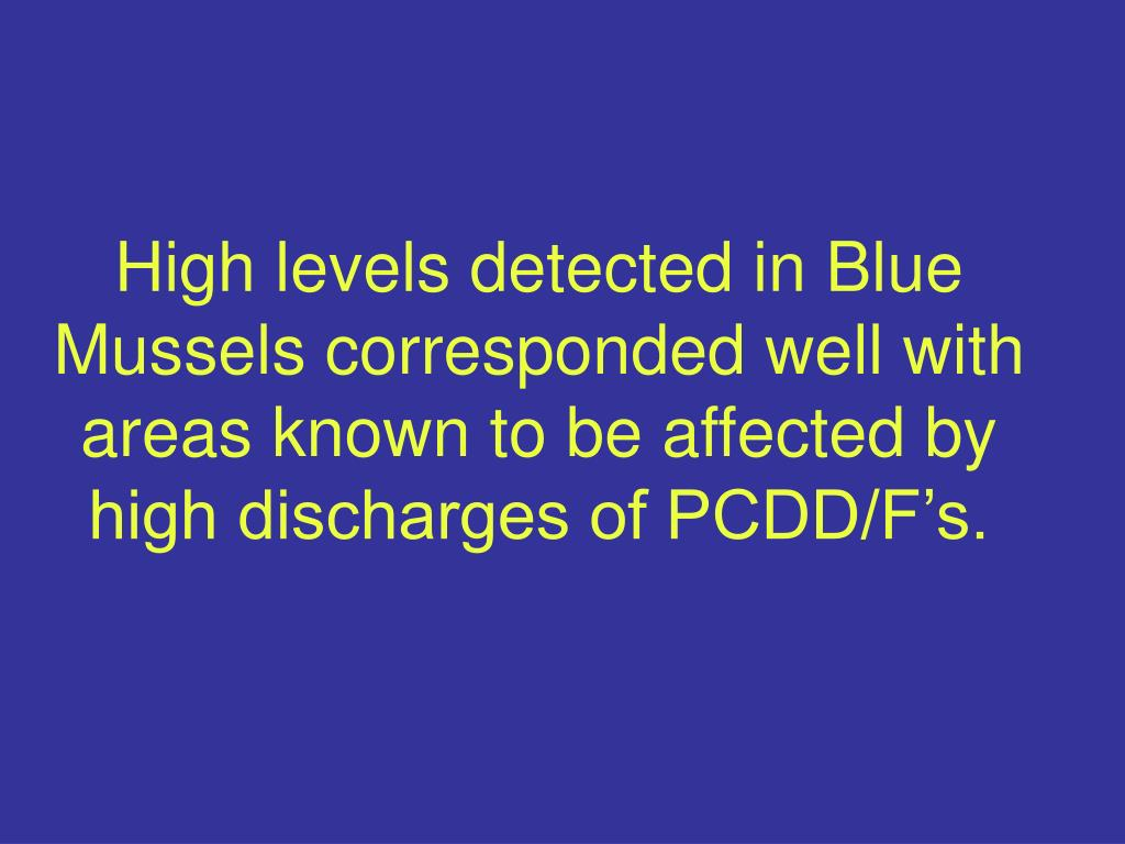 High levels detected in Blue Mussels corresponded well with areas known to be affected by high discharges of PCDD/F's.