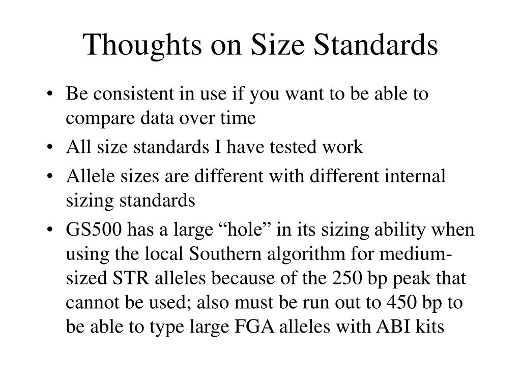 Thoughts on Size Standards