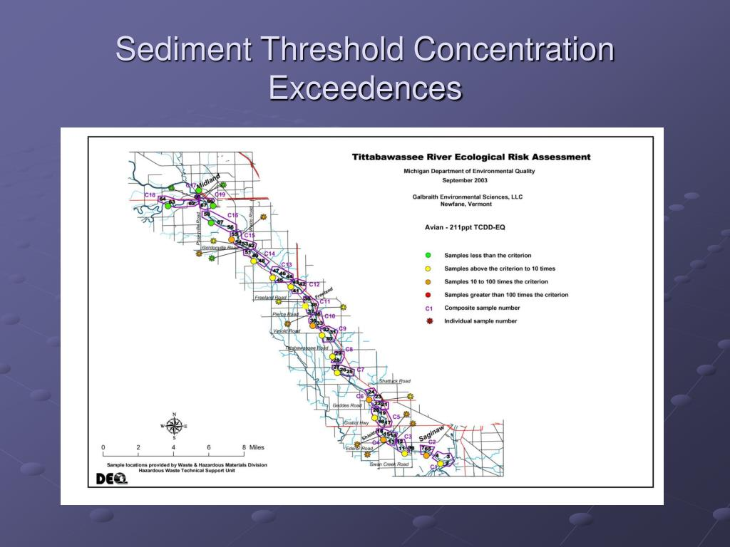 Sediment Threshold Concentration Exceedences