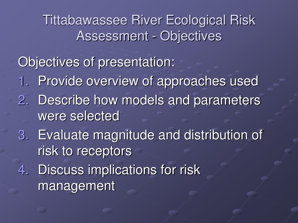 Tittabawassee River Ecological Risk Assessment - Objectives