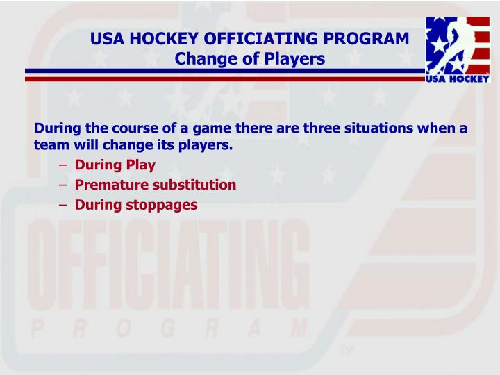 Usa hockey officiating program change of players