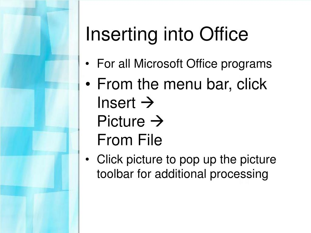 Inserting into Office