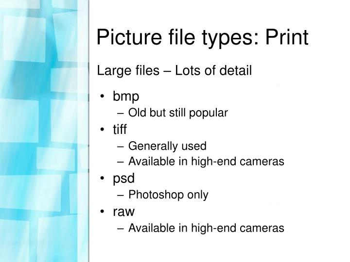 Picture file types print