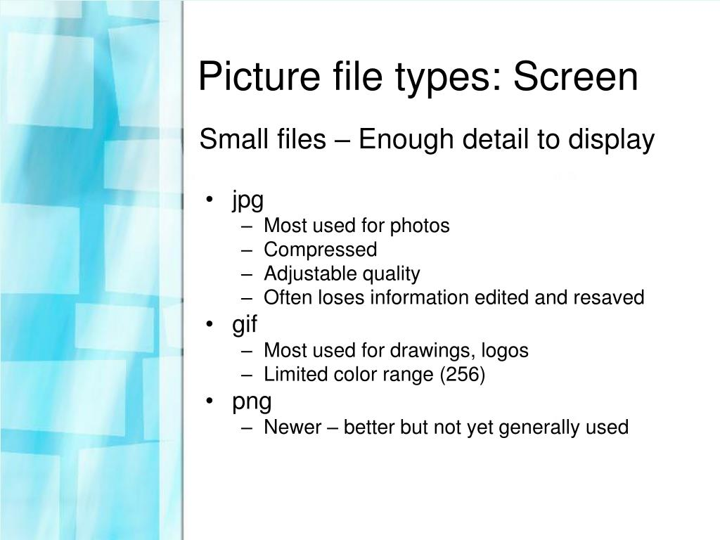 Picture file types: Screen