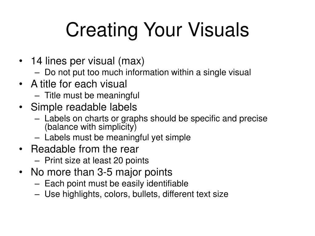 Creating Your Visuals