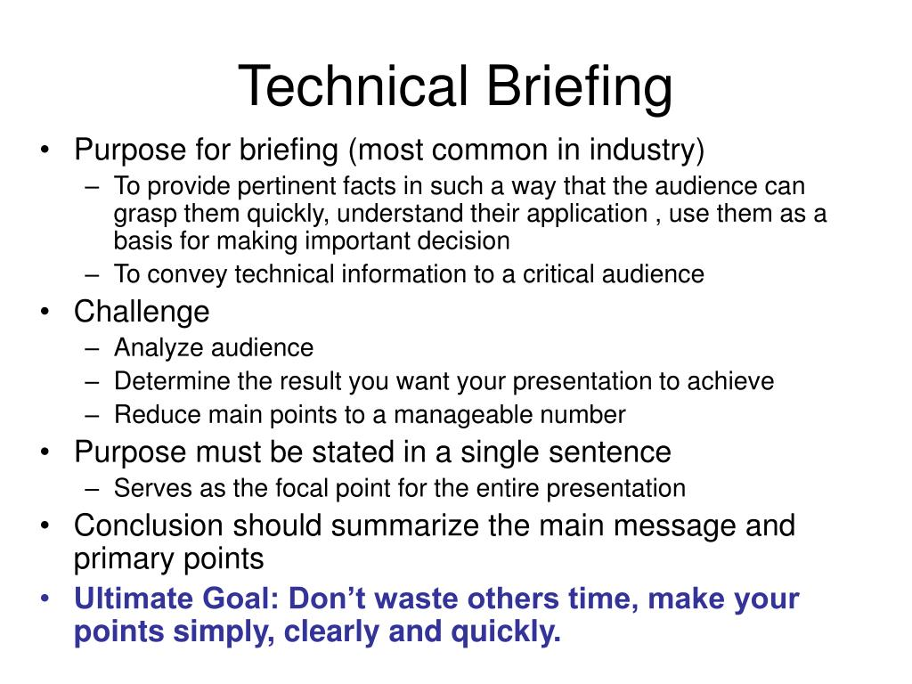 Technical Briefing