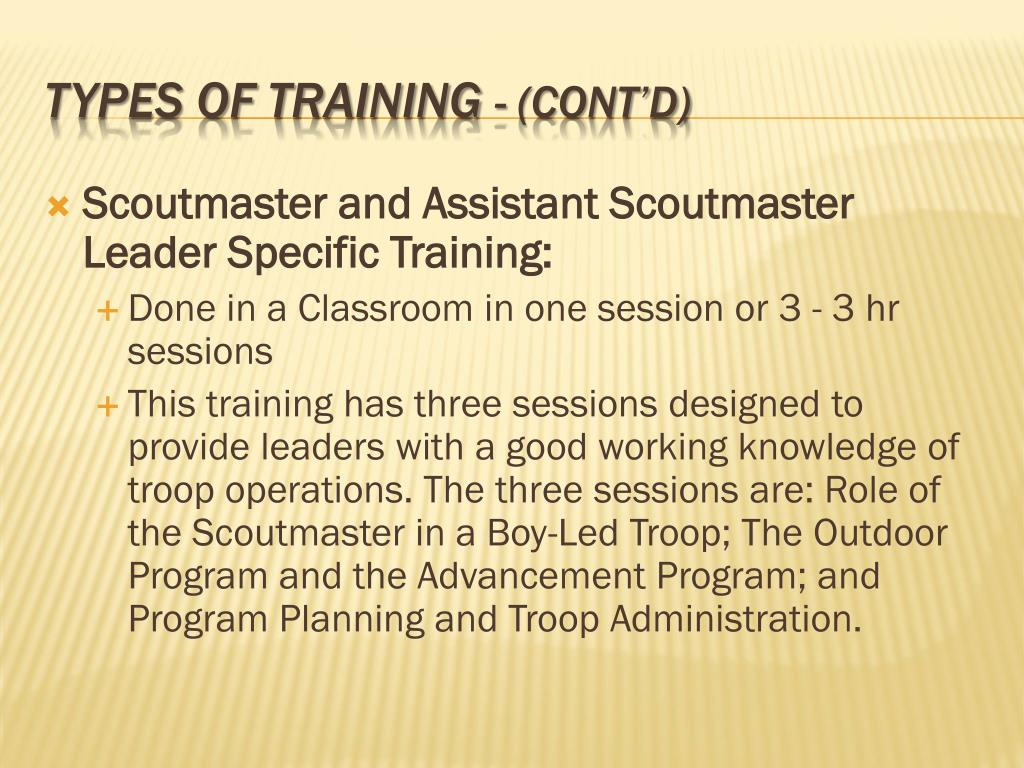 Scoutmaster and Assistant Scoutmaster Leader Specific Training:
