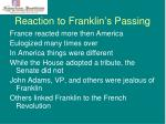 reaction to franklin s passing
