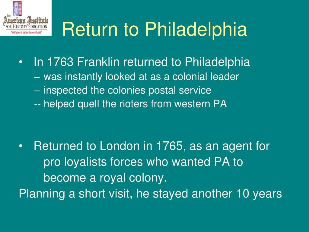 Return to Philadelphia