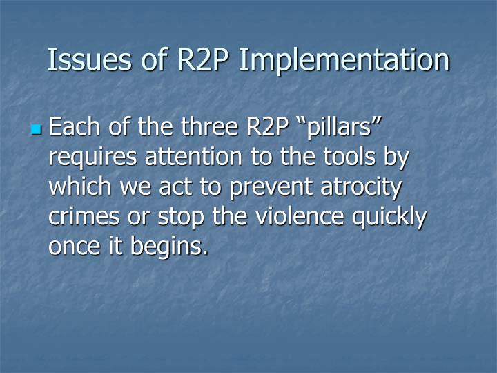Issues of r2p implementation3