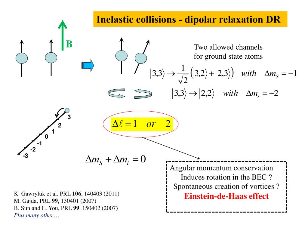 Inelastic collisions - dipolar relaxation DR