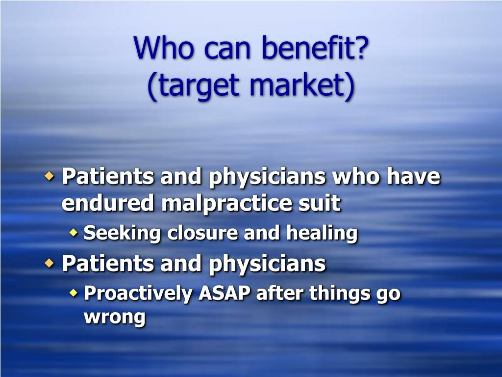 Who can benefit?