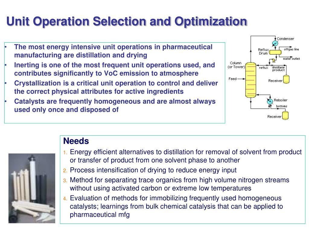 Unit Operation Selection and Optimization