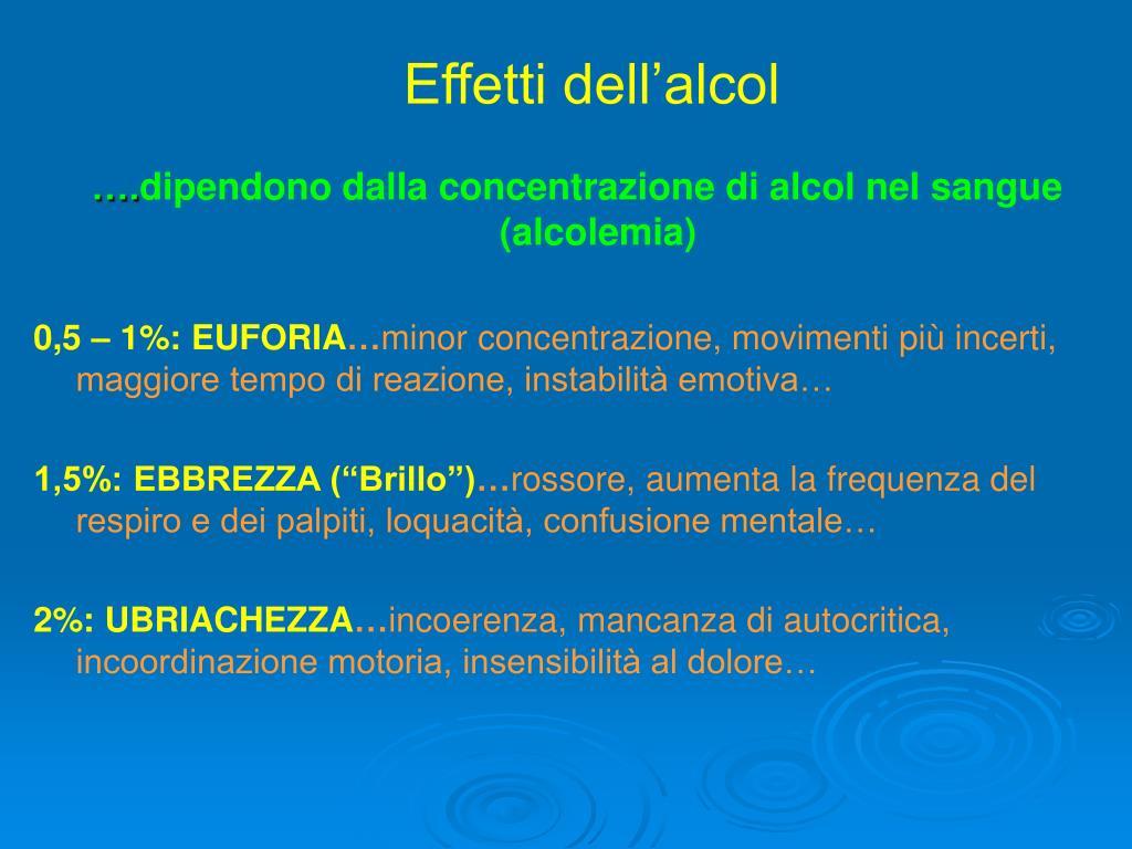 Effetti dell'alcol