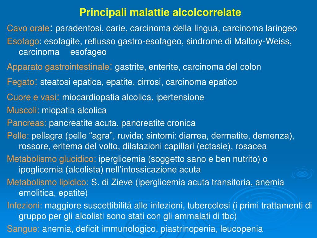 Principali malattie alcolcorrelate