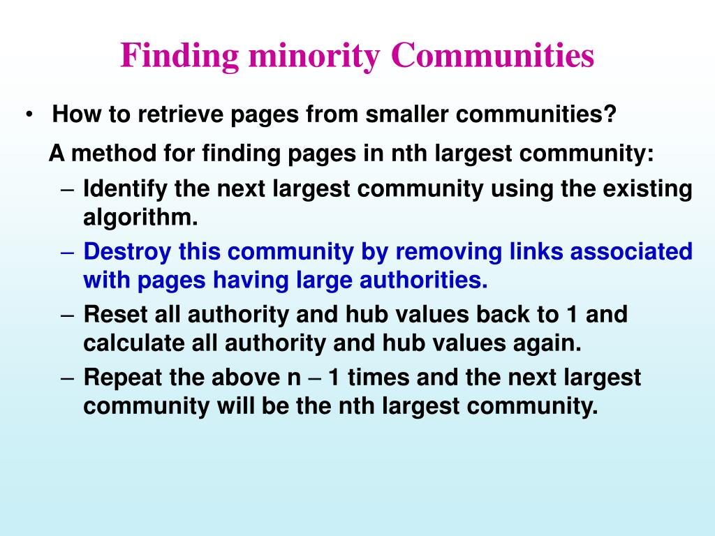 Finding minority Communities