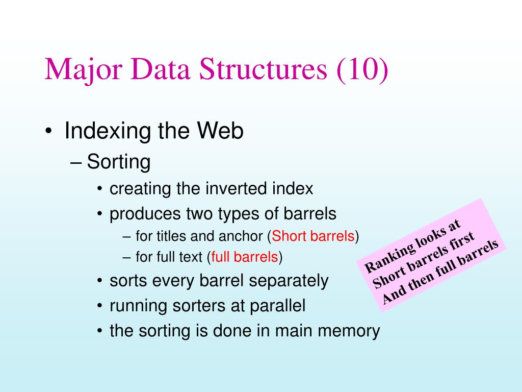 Major Data Structures (10)