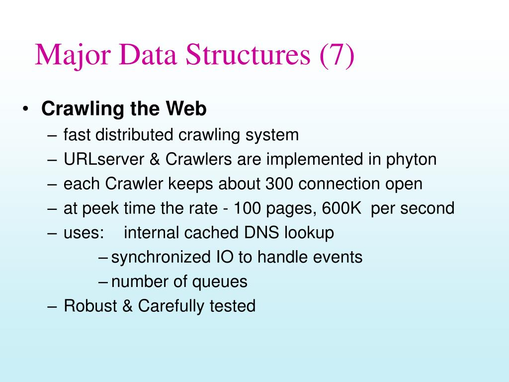 Major Data Structures (7)