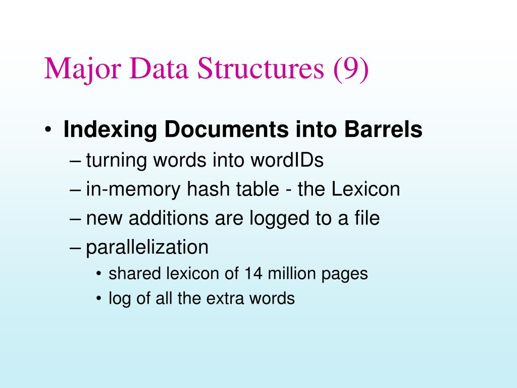 Major Data Structures (9)