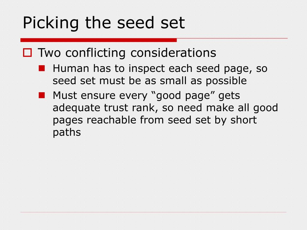 Picking the seed set