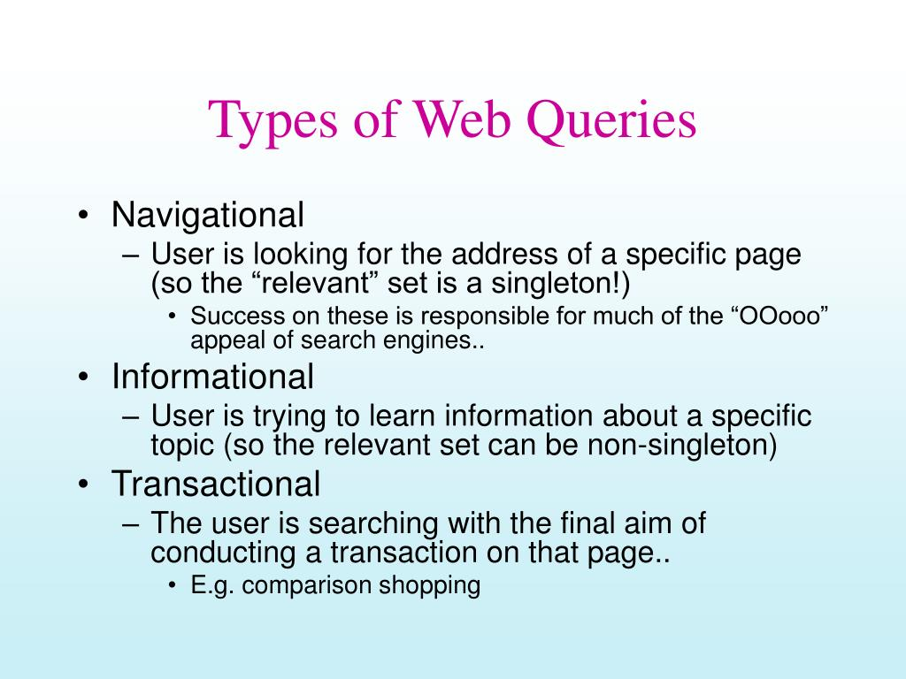 Types of Web Queries