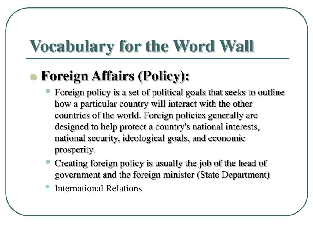 Vocabulary for the Word Wall