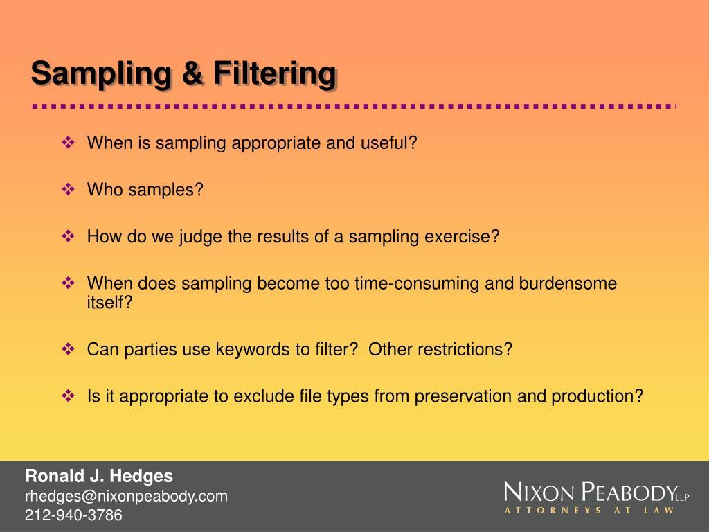 Sampling & Filtering