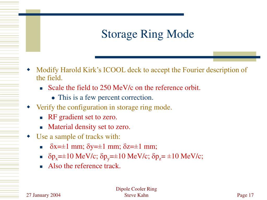 Storage Ring Mode