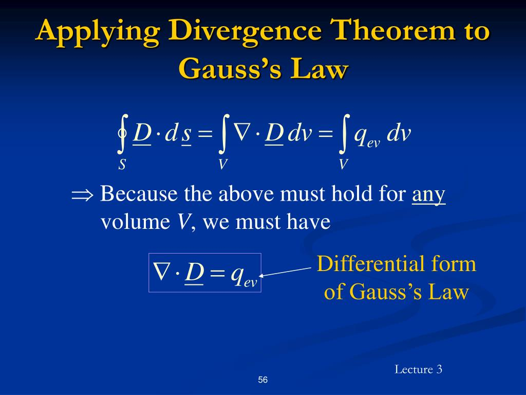 Applying Divergence Theorem to Gauss's Law