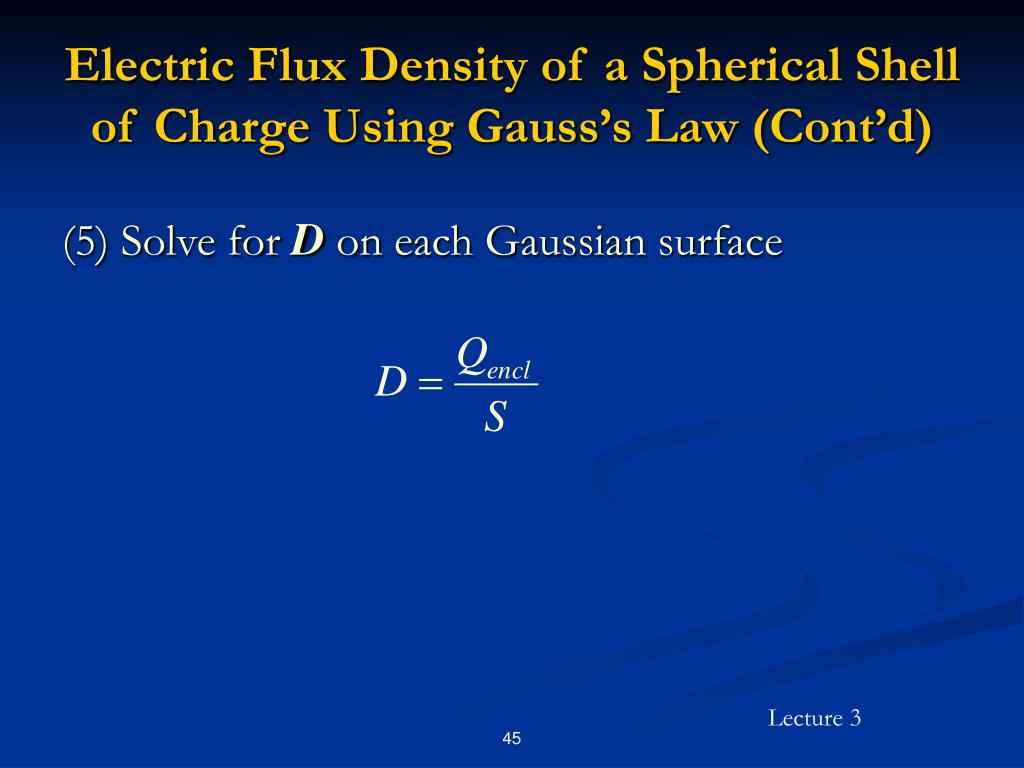Electric Flux Density of a Spherical Shell of Charge Using Gauss's Law (Cont'd)