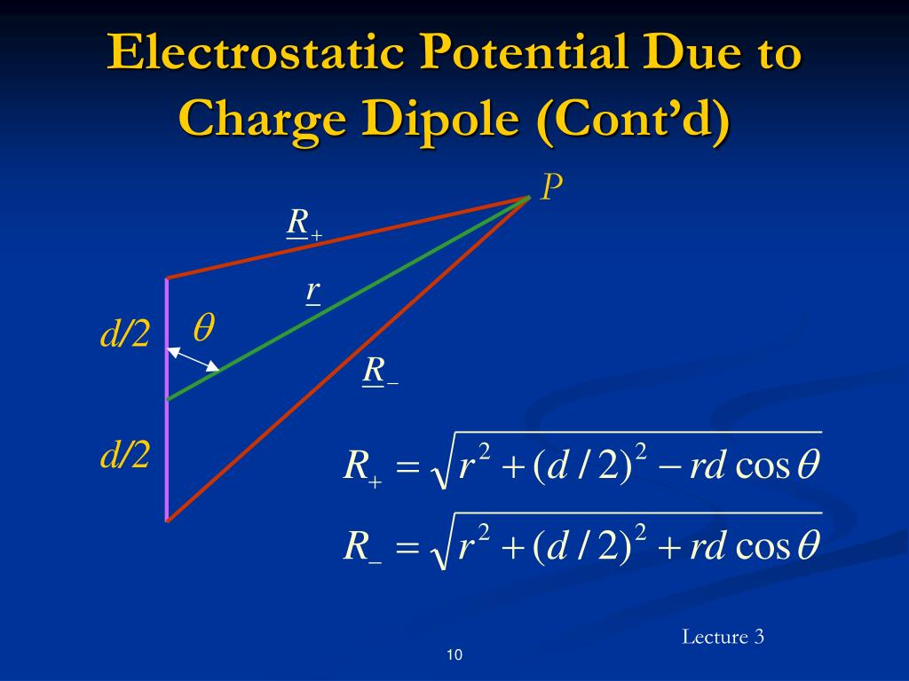 Electrostatic Potential Due to Charge Dipole (Cont'd)